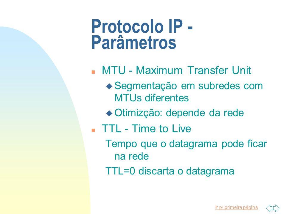 Protocolo IP - Parâmetros