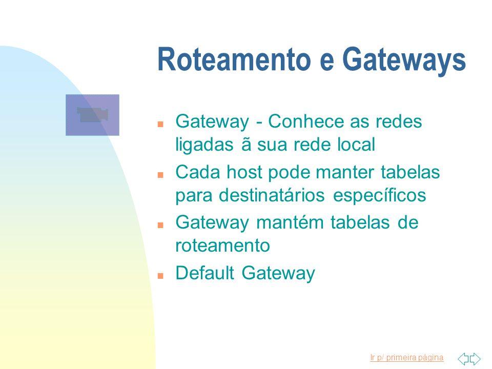 Roteamento e Gateways Gateway - Conhece as redes ligadas ã sua rede local. Cada host pode manter tabelas para destinatários específicos.