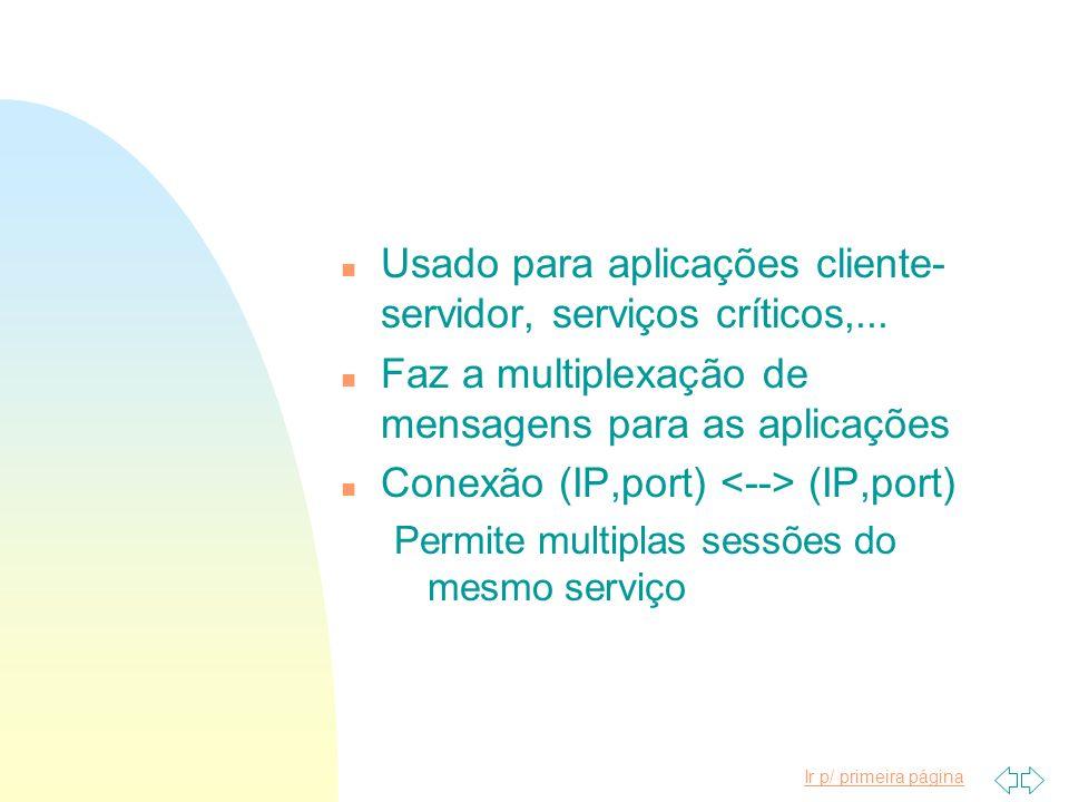 Usado para aplicações cliente-servidor, serviços críticos,...