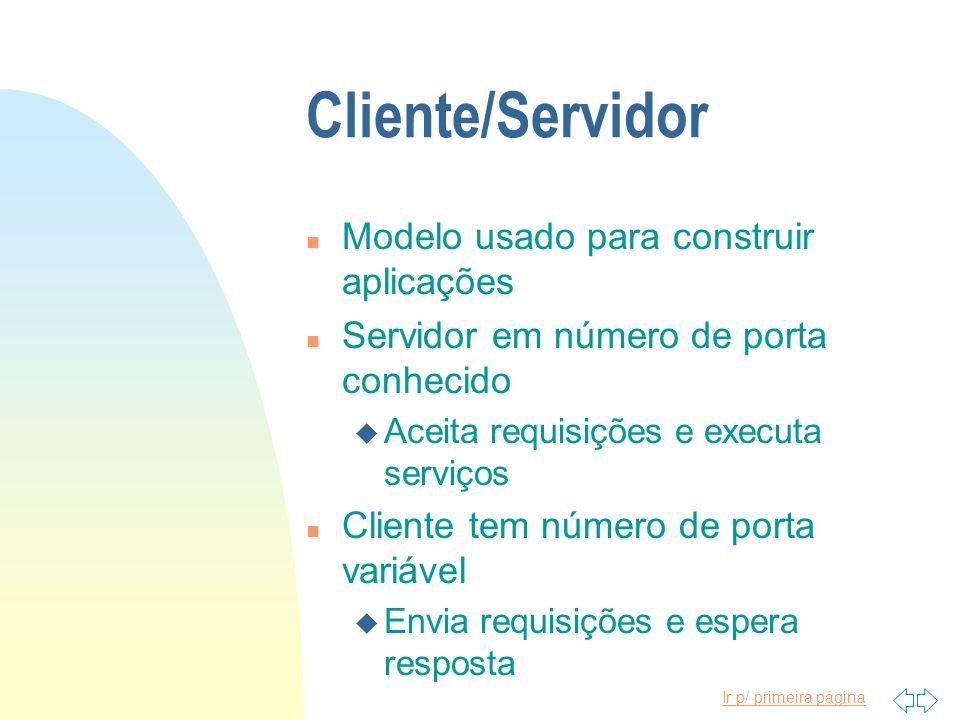 Cliente/Servidor Modelo usado para construir aplicações