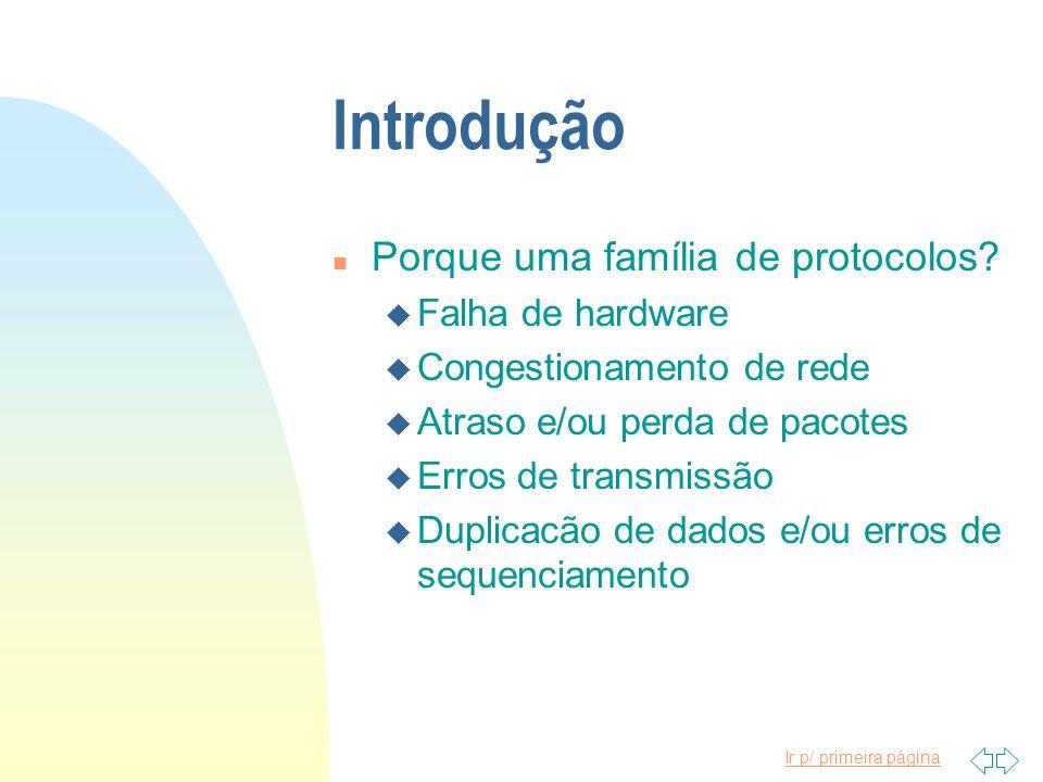 Introdução Porque uma família de protocolos Falha de hardware