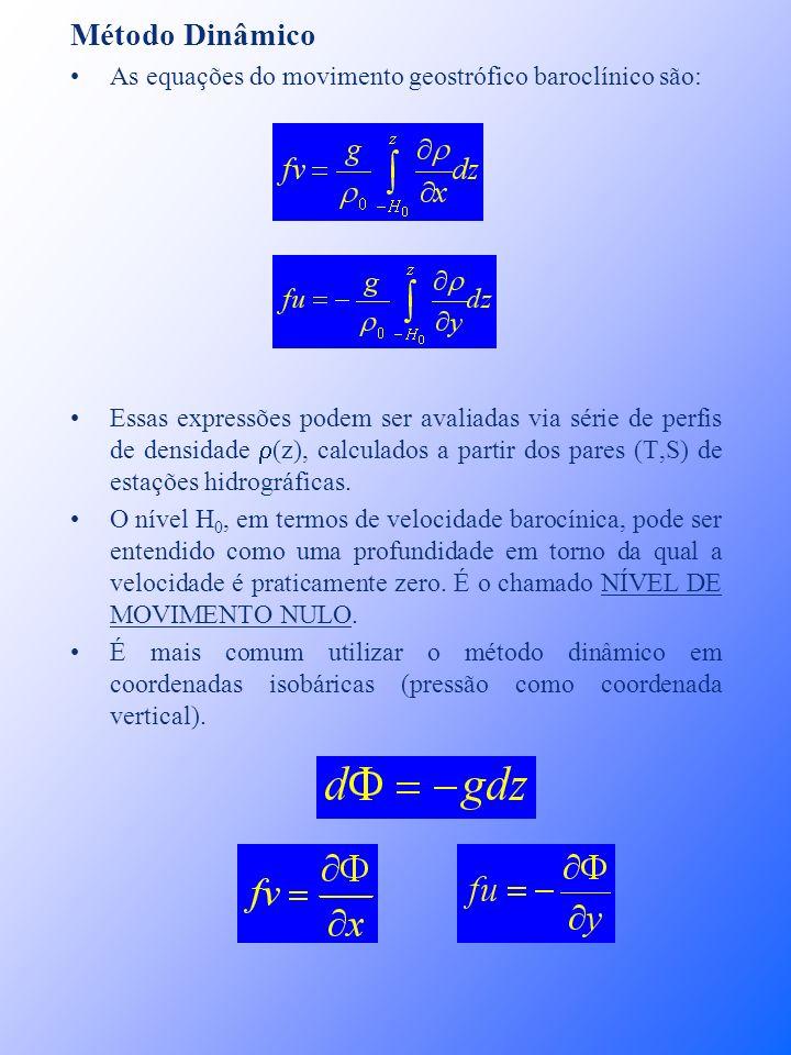 Método Dinâmico As equações do movimento geostrófico baroclínico são: