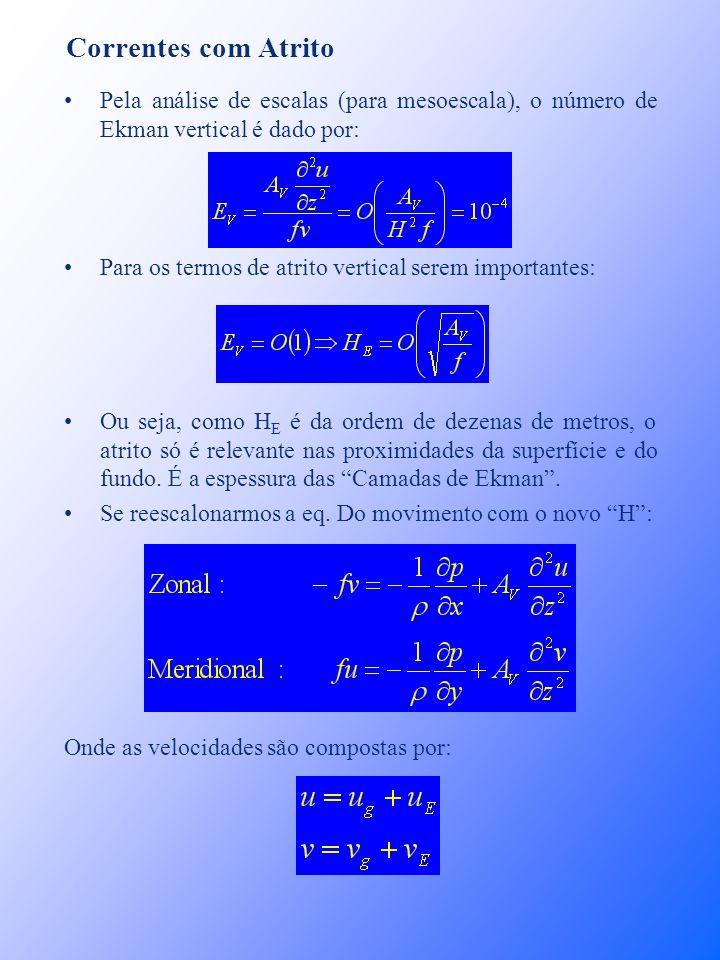 Correntes com Atrito Pela análise de escalas (para mesoescala), o número de Ekman vertical é dado por: