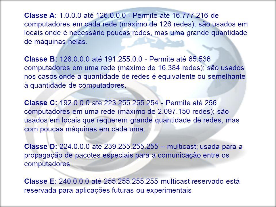 Classe A: 1. 0 até 126. 0 - Permite até 16. 777