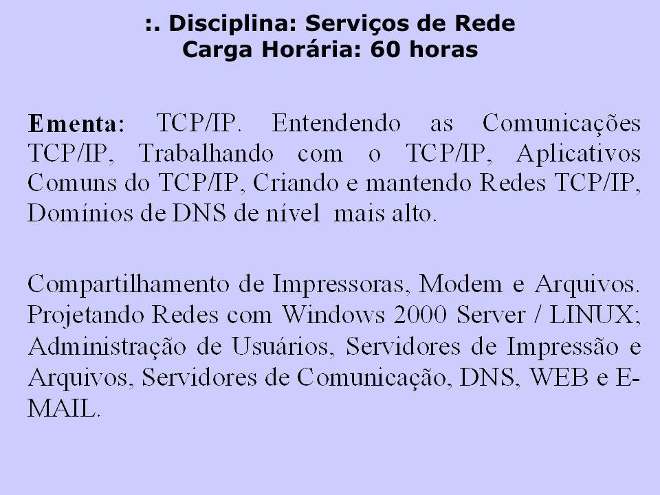 :. Disciplina: Serviços de Rede