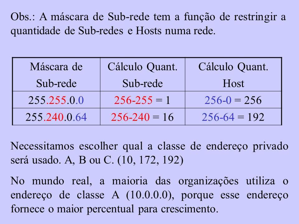 Obs.: A máscara de Sub-rede tem a função de restringir a quantidade de Sub-redes e Hosts numa rede.