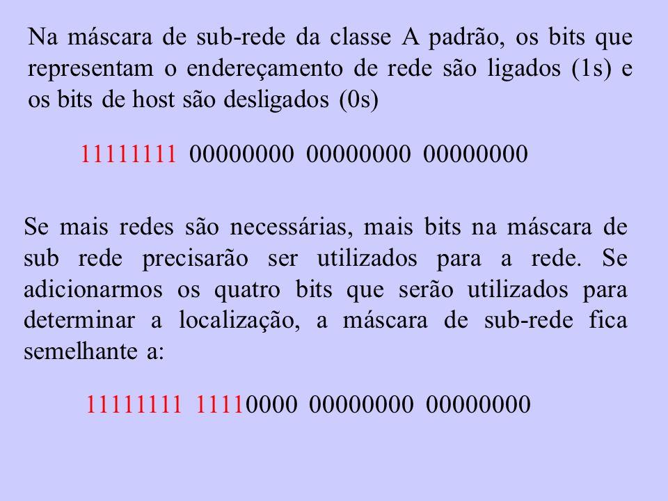 Na máscara de sub-rede da classe A padrão, os bits que representam o endereçamento de rede são ligados (1s) e os bits de host são desligados (0s)