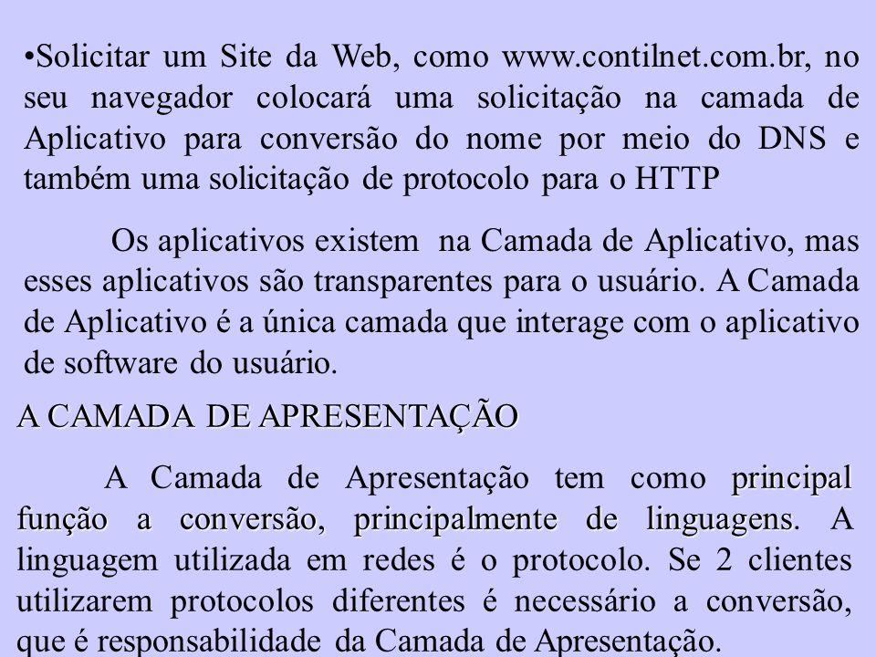 Solicitar um Site da Web, como www. contilnet. com