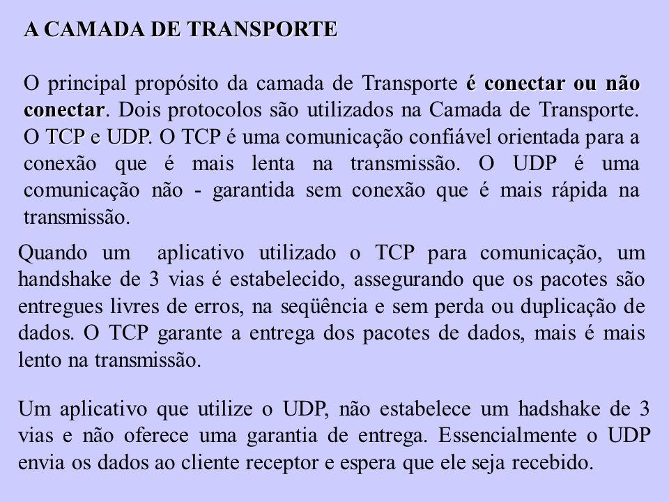 A CAMADA DE TRANSPORTE