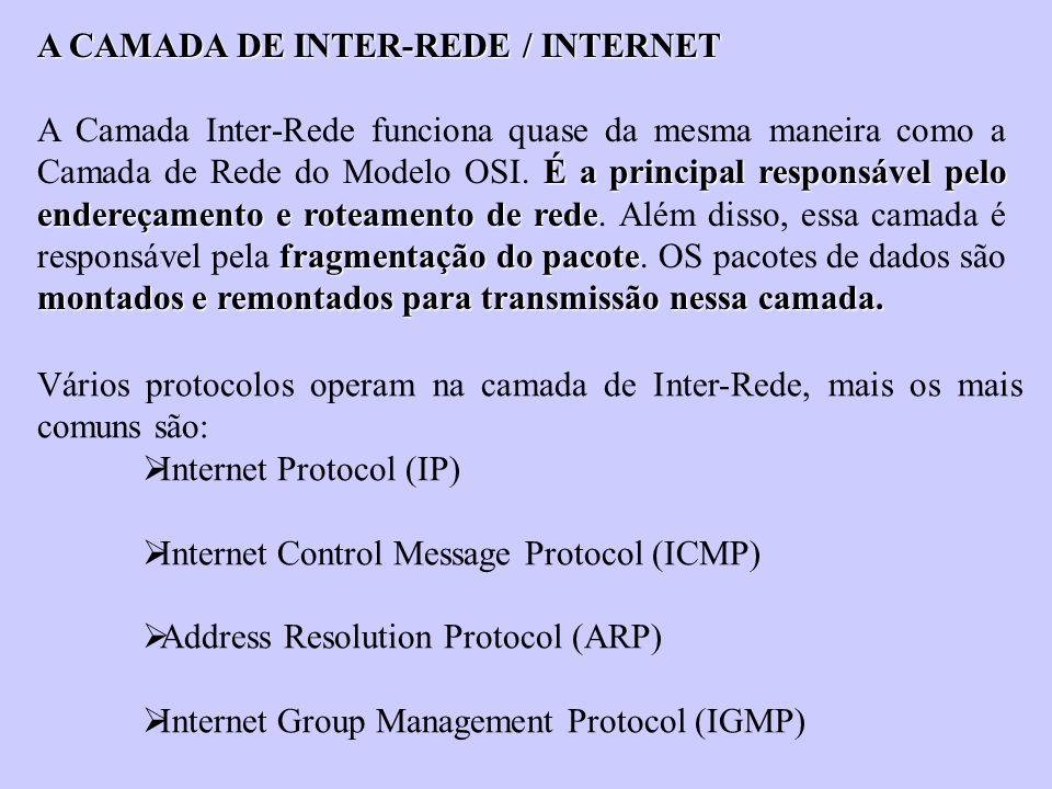 A CAMADA DE INTER-REDE / INTERNET