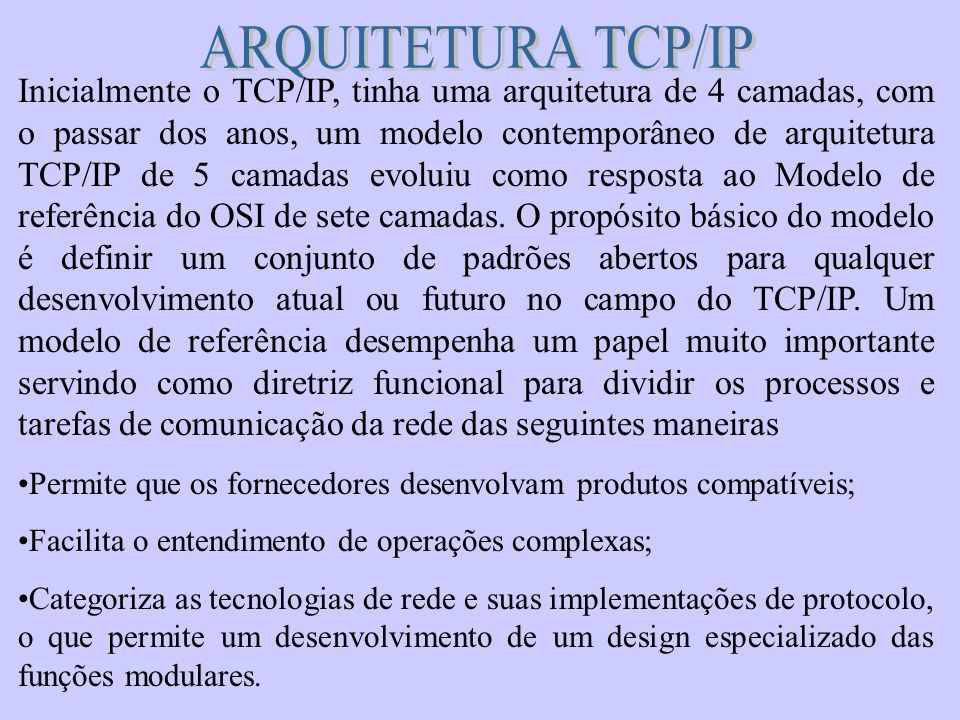 ARQUITETURA TCP/IP