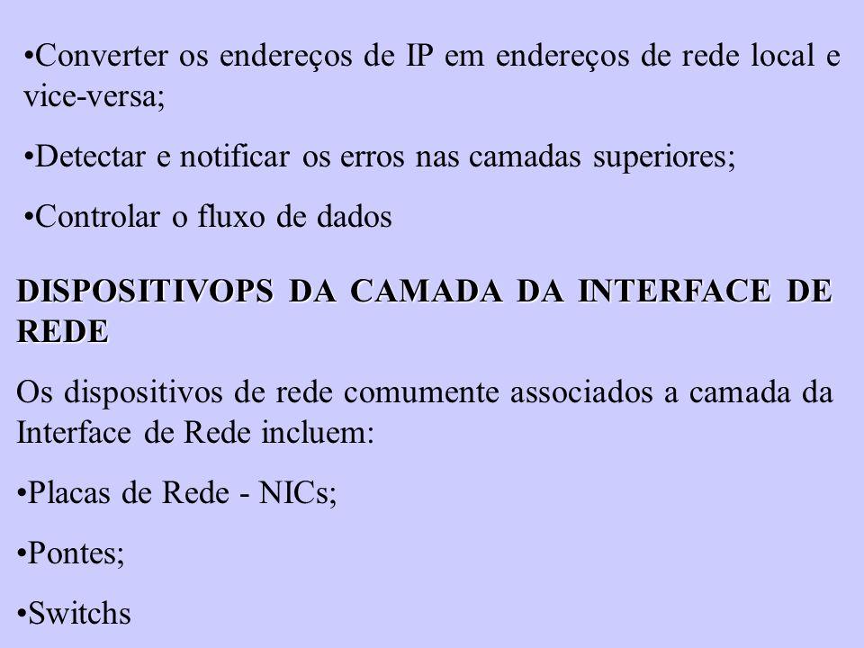 Converter os endereços de IP em endereços de rede local e vice-versa;