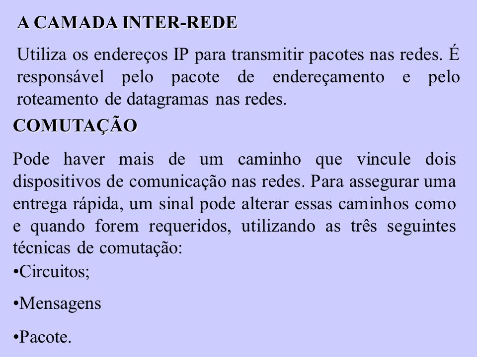 A CAMADA INTER-REDE