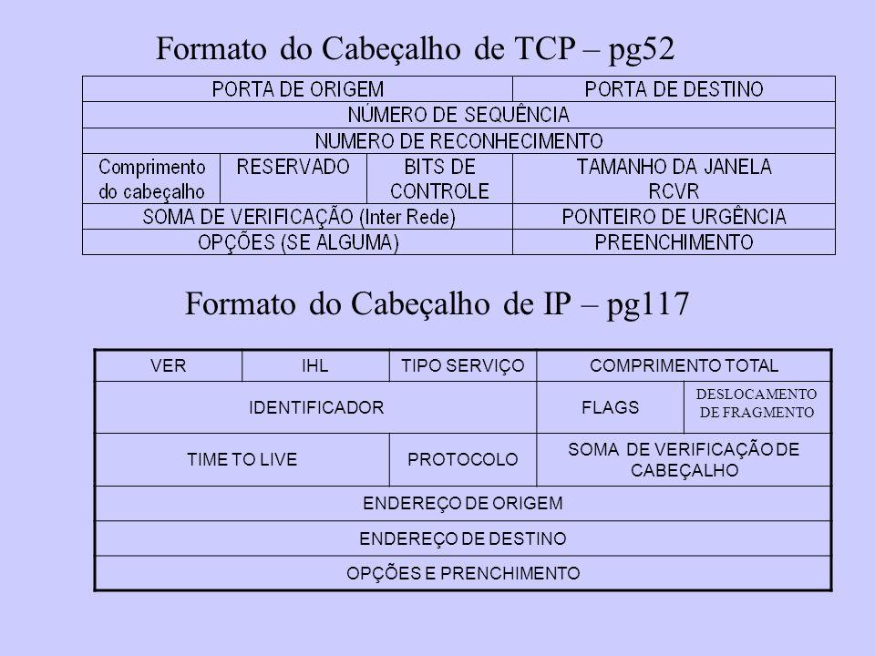Formato do Cabeçalho de TCP – pg52