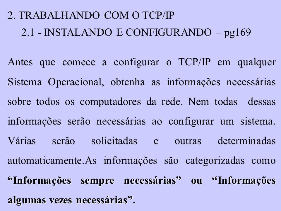 2. TRABALHANDO COM O TCP/IP