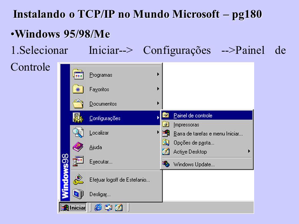 Instalando o TCP/IP no Mundo Microsoft – pg180