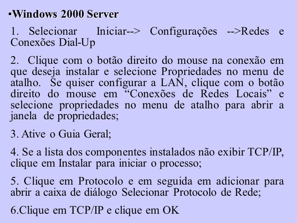 Windows 2000 Server 1. Selecionar Iniciar--> Configurações -->Redes e Conexões Dial-Up.