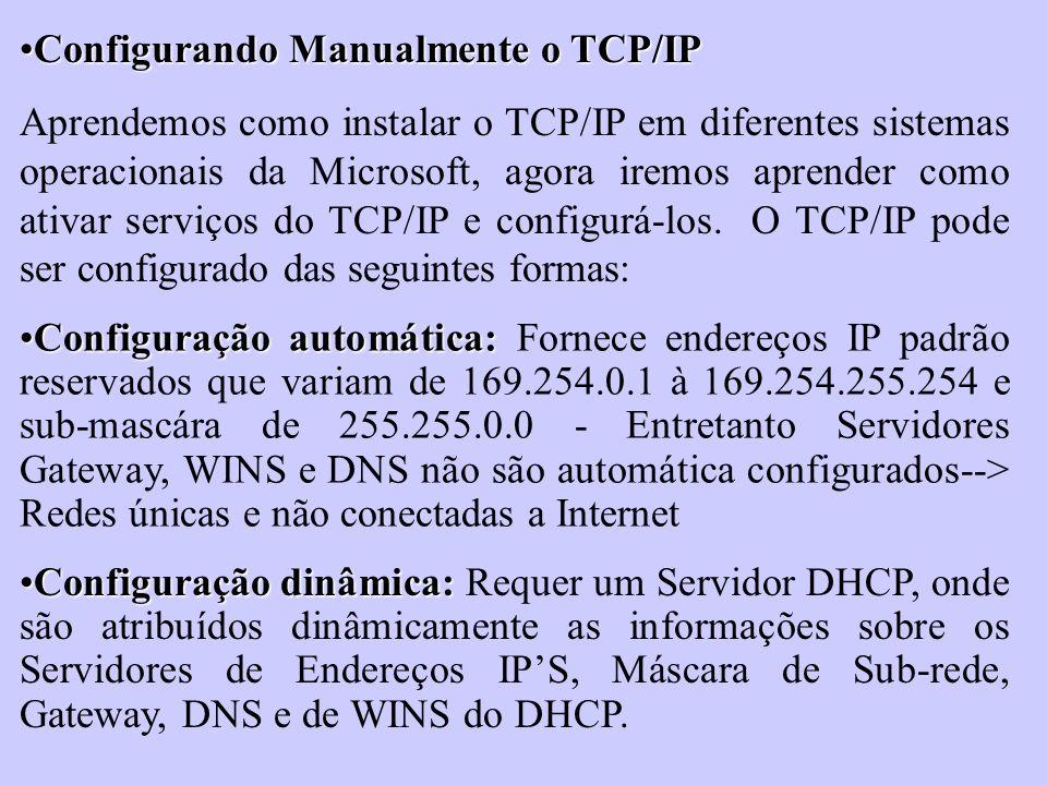 Configurando Manualmente o TCP/IP