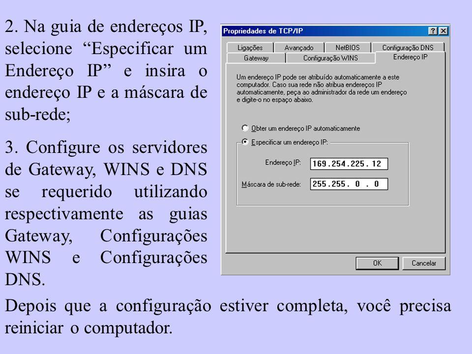 2. Na guia de endereços IP, selecione Especificar um Endereço IP e insira o endereço IP e a máscara de sub-rede;