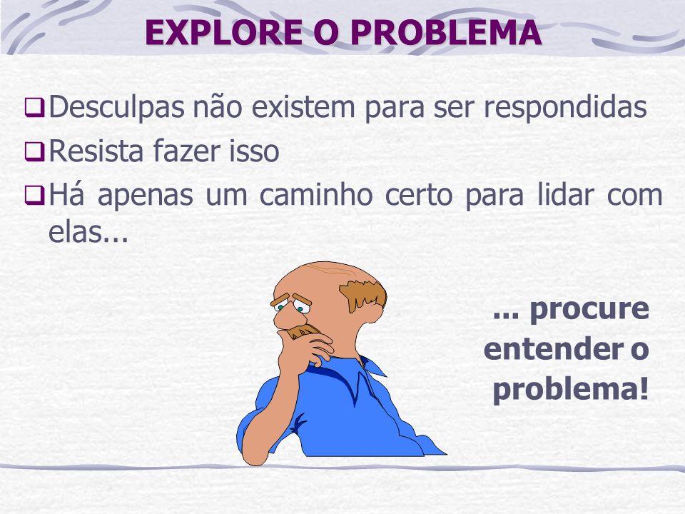 EXPLORE O PROBLEMA Desculpas não existem para ser respondidas