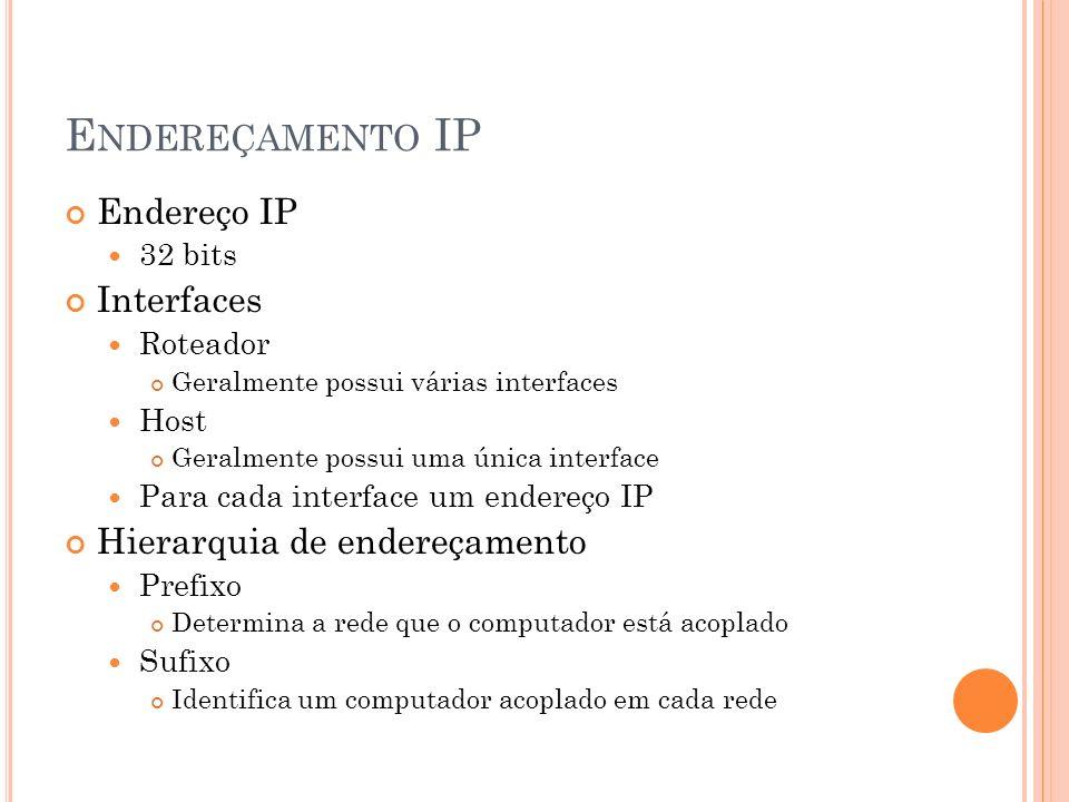 Endereçamento IP Endereço IP Interfaces Hierarquia de endereçamento