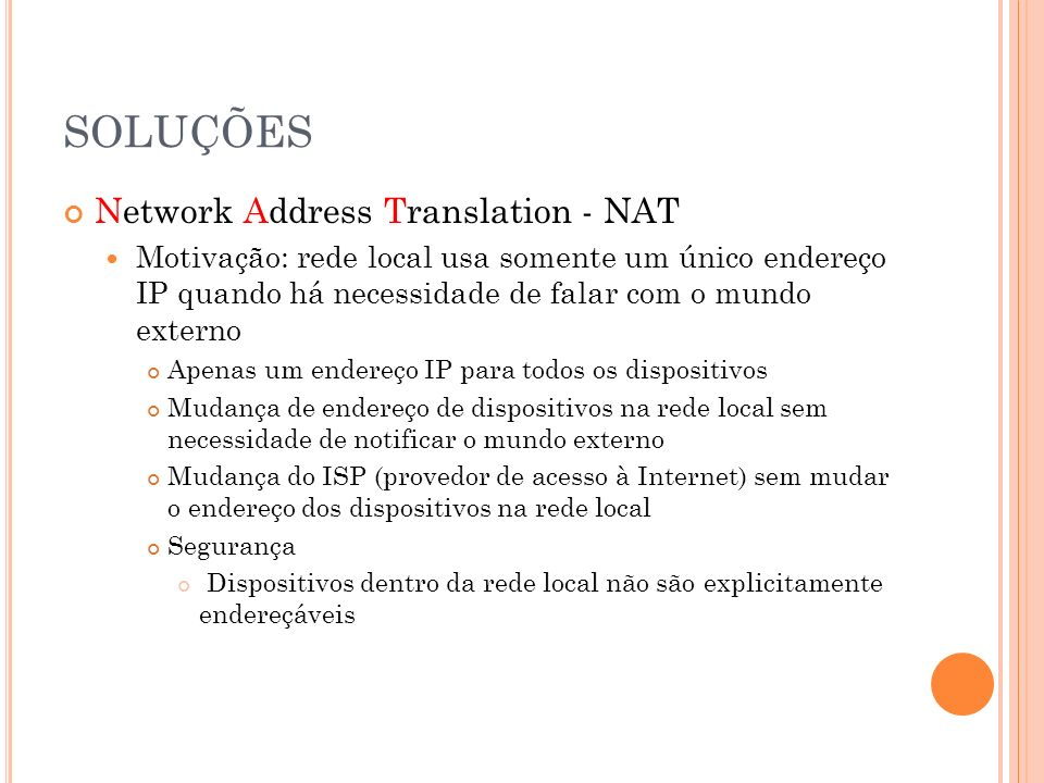 SOLUÇÕES Network Address Translation - NAT