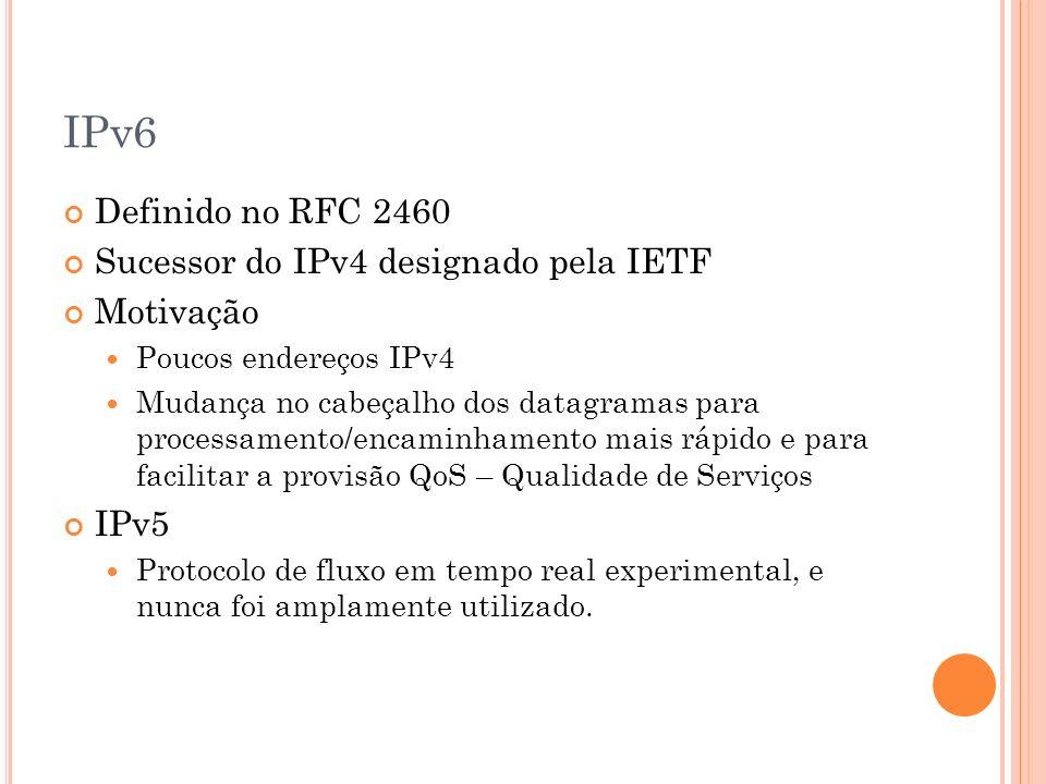 IPv6 Definido no RFC 2460 Sucessor do IPv4 designado pela IETF