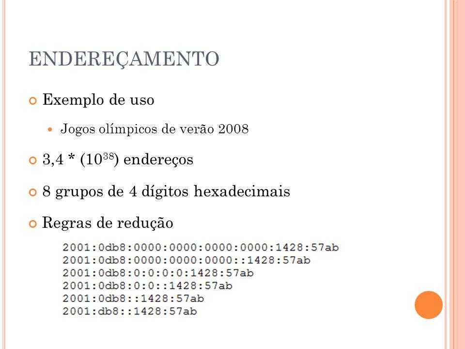 ENDEREÇAMENTO Exemplo de uso 3,4 * (1038) endereços