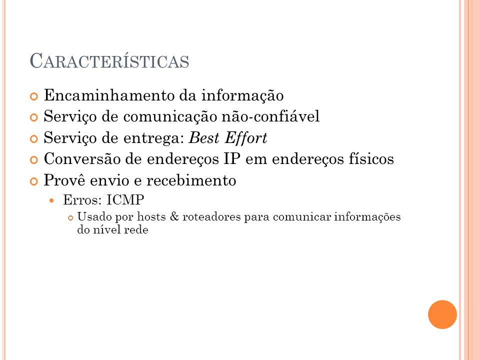 Características Encaminhamento da informação