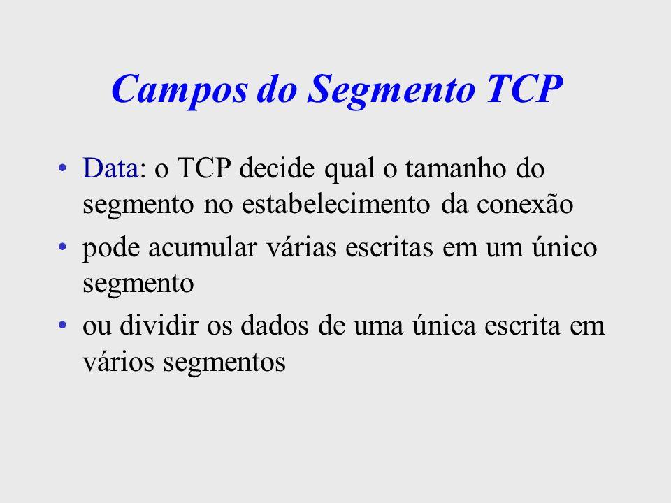 Campos do Segmento TCP Data: o TCP decide qual o tamanho do segmento no estabelecimento da conexão.
