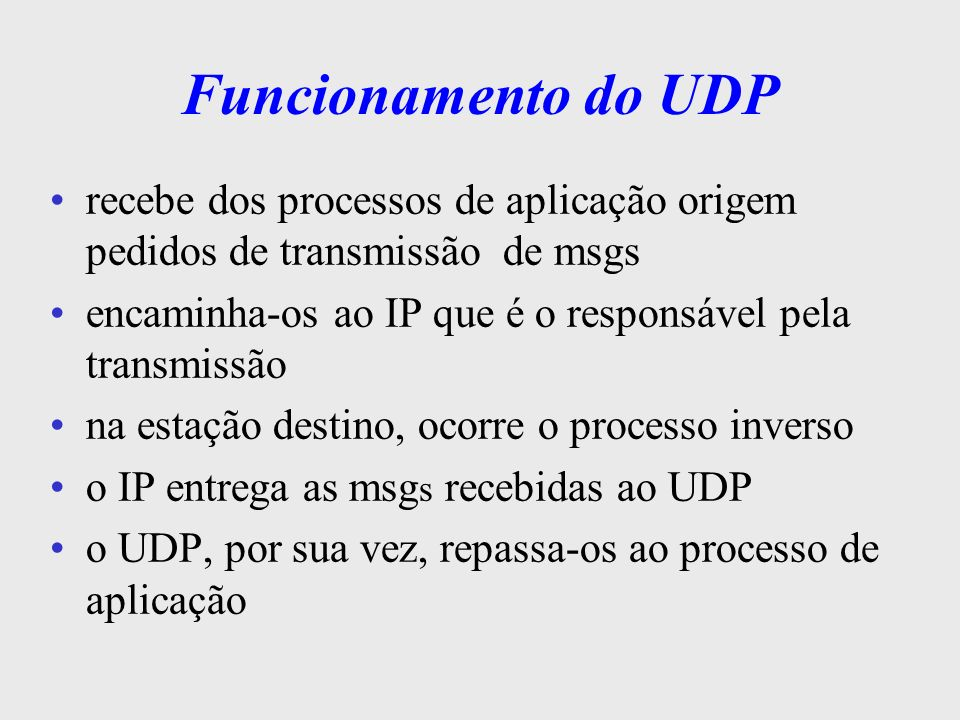 Funcionamento do UDPrecebe dos processos de aplicação origem pedidos de transmissão de msgs.