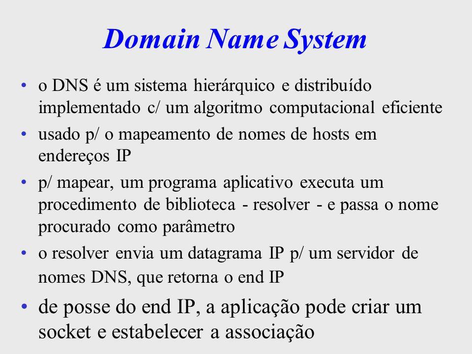 Domain Name System o DNS é um sistema hierárquico e distribuído implementado c/ um algoritmo computacional eficiente.