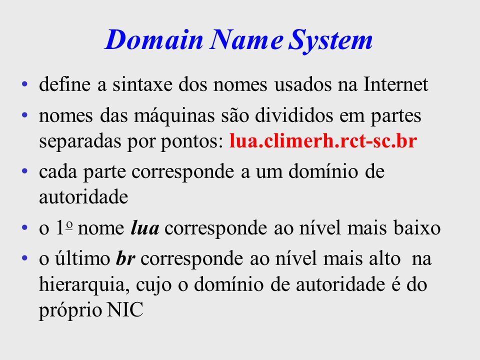 Domain Name System define a sintaxe dos nomes usados na Internet