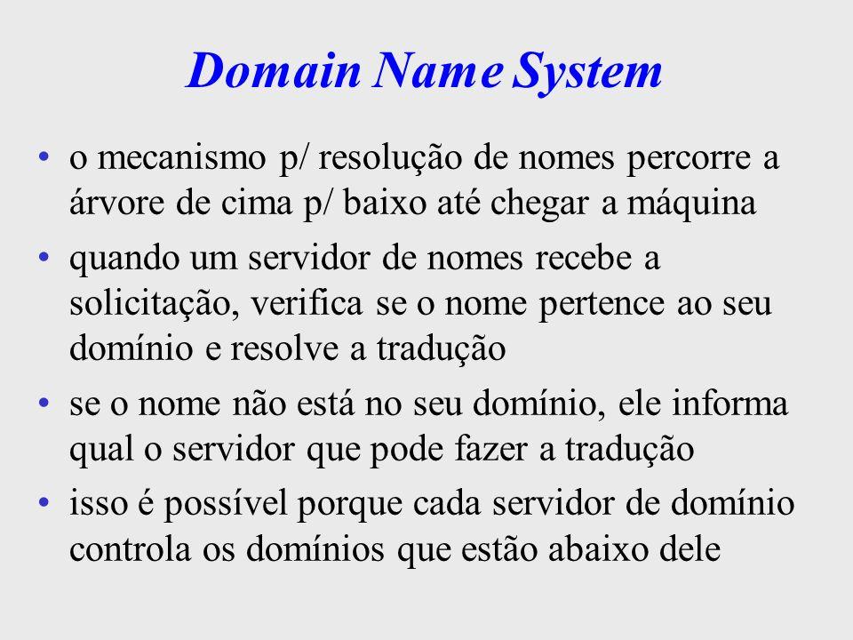Domain Name Systemo mecanismo p/ resolução de nomes percorre a árvore de cima p/ baixo até chegar a máquina.