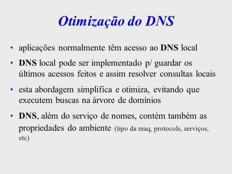 Otimização do DNS aplicações normalmente têm acesso ao DNS local