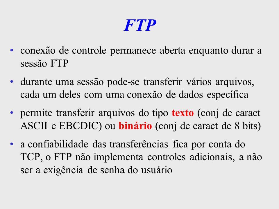 FTP conexão de controle permanece aberta enquanto durar a sessão FTP