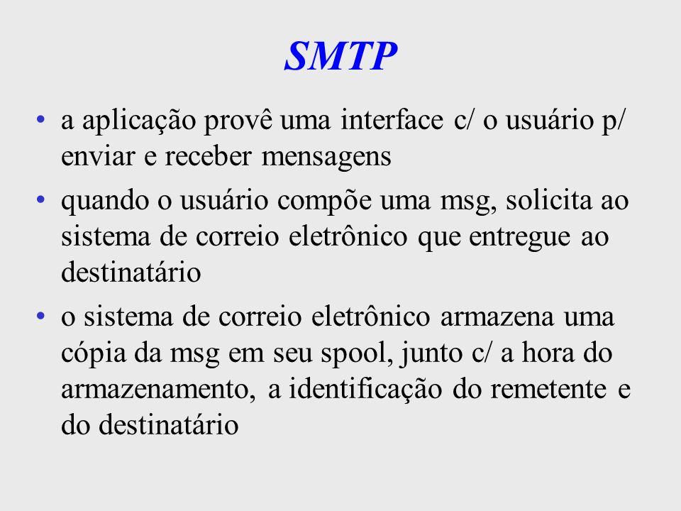 SMTP a aplicação provê uma interface c/ o usuário p/ enviar e receber mensagens.