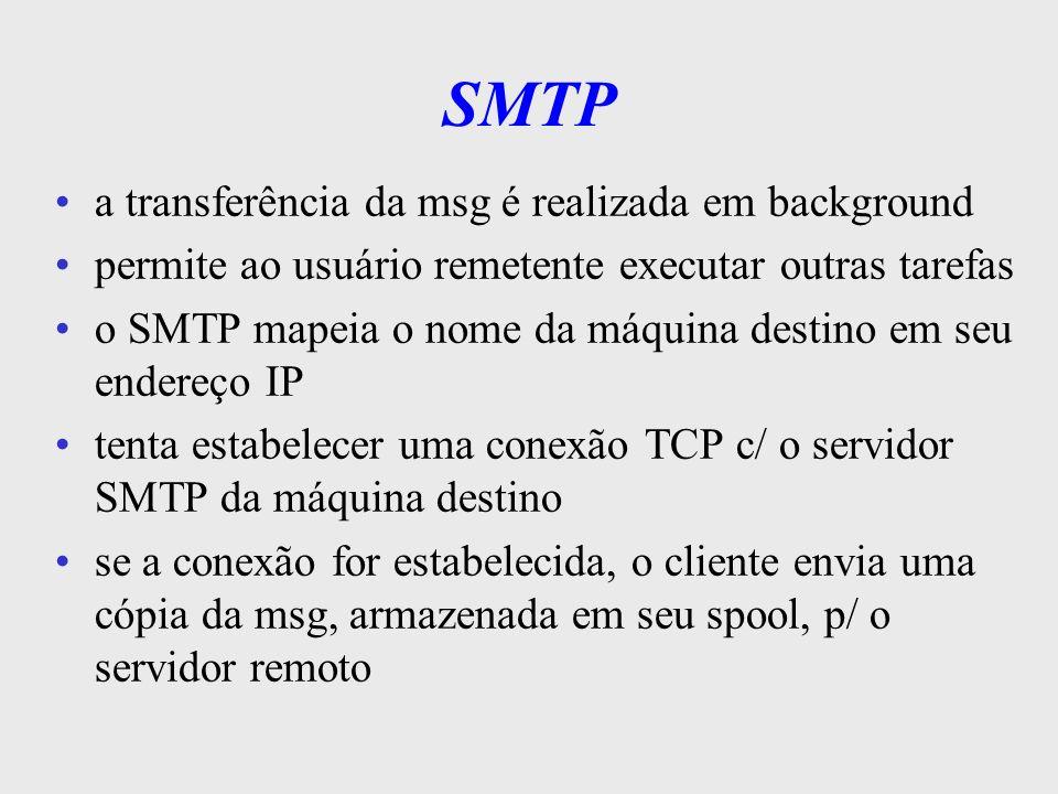 SMTP a transferência da msg é realizada em background