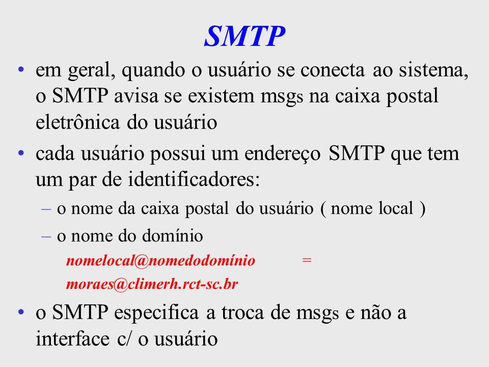 SMTP em geral, quando o usuário se conecta ao sistema, o SMTP avisa se existem msgs na caixa postal eletrônica do usuário.