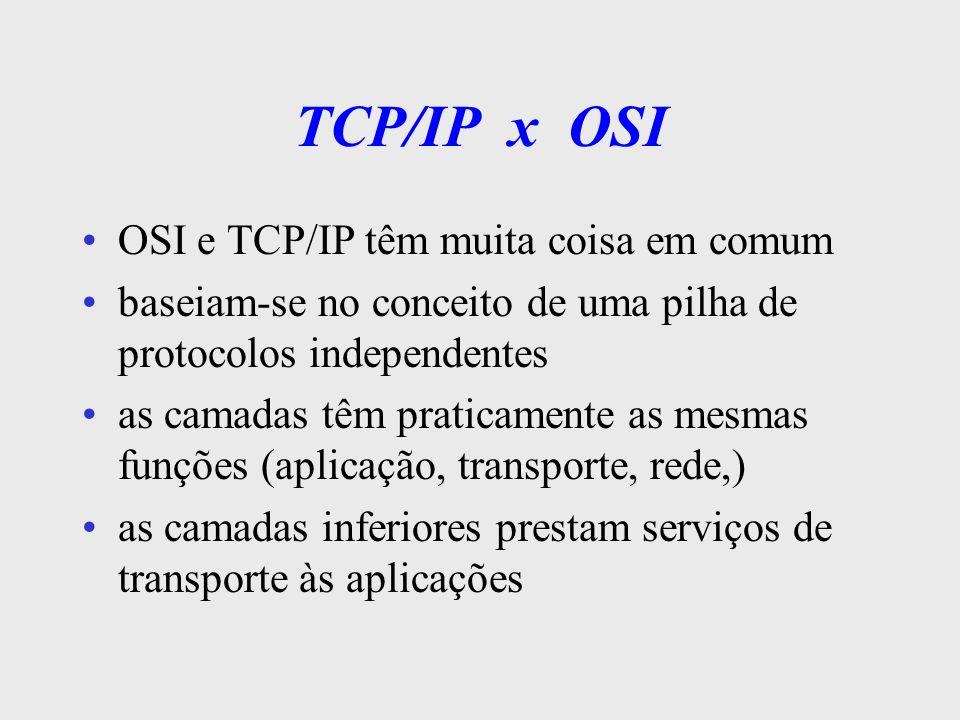 TCP/IP x OSI OSI e TCP/IP têm muita coisa em comum