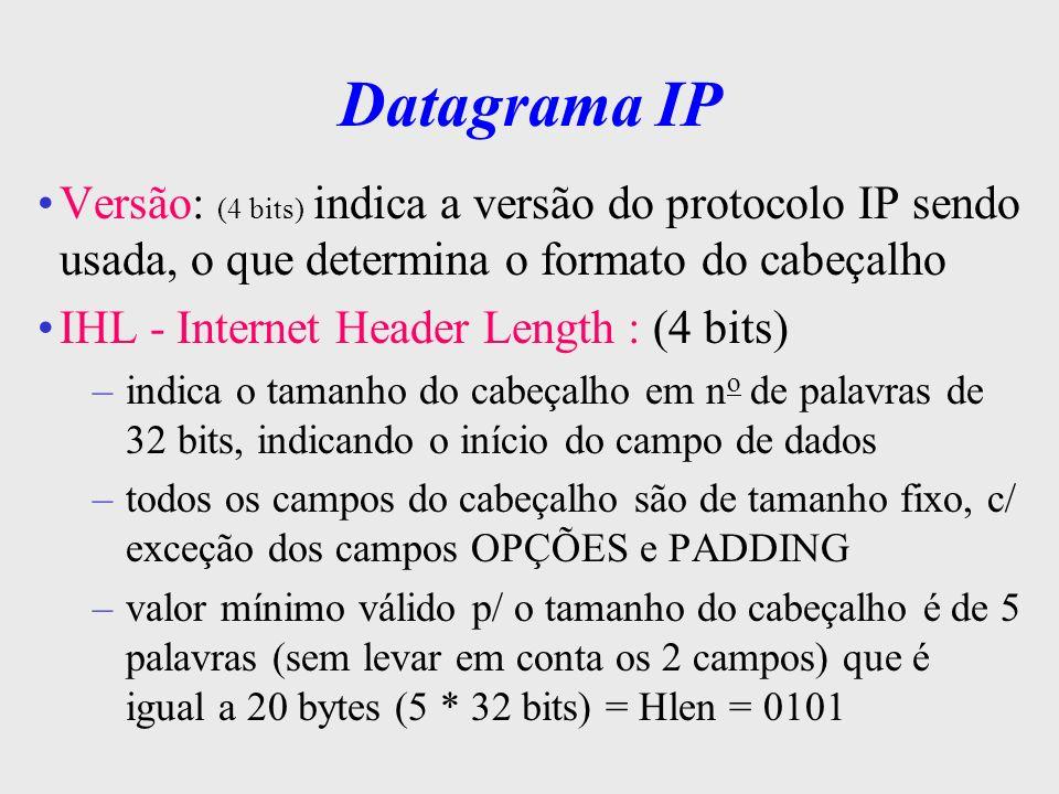 Datagrama IPVersão: (4 bits) indica a versão do protocolo IP sendo usada, o que determina o formato do cabeçalho.
