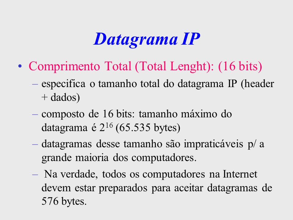 Datagrama IP Comprimento Total (Total Lenght): (16 bits)