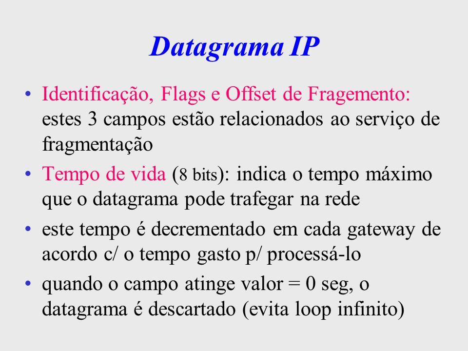 Datagrama IP Identificação, Flags e Offset de Fragemento: estes 3 campos estão relacionados ao serviço de fragmentação.