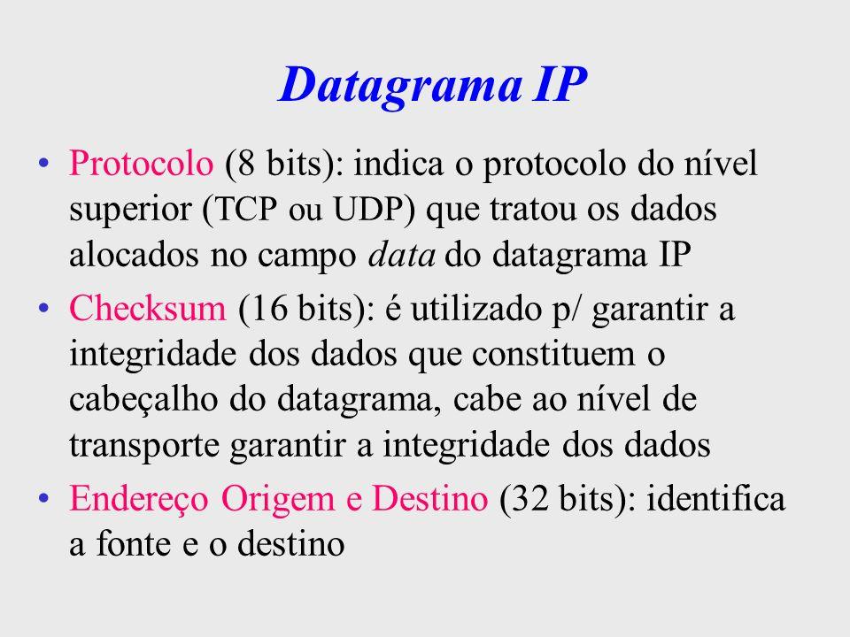 Datagrama IPProtocolo (8 bits): indica o protocolo do nível superior (TCP ou UDP) que tratou os dados alocados no campo data do datagrama IP.