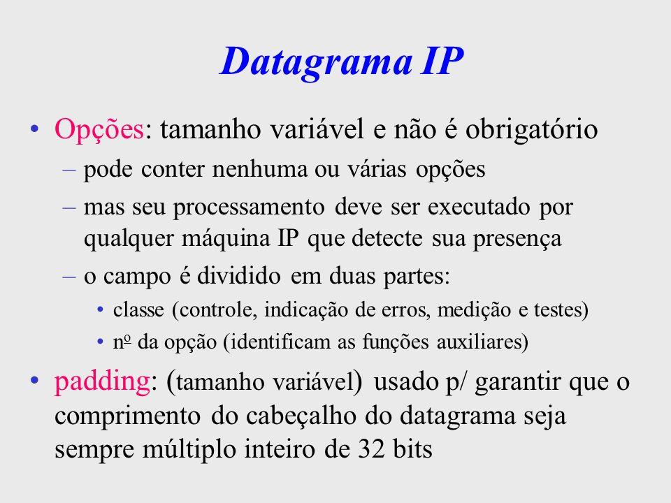Datagrama IP Opções: tamanho variável e não é obrigatório
