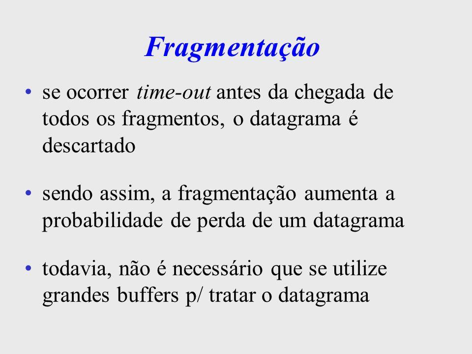 Fragmentação se ocorrer time-out antes da chegada de todos os fragmentos, o datagrama é descartado.