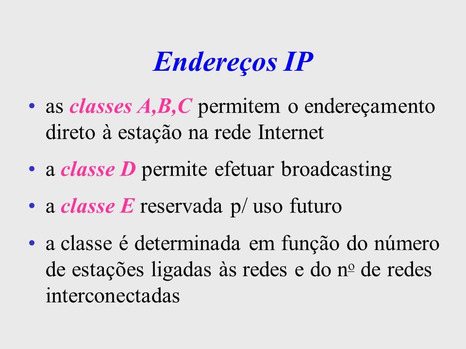 Endereços IPas classes A,B,C permitem o endereçamento direto à estação na rede Internet. a classe D permite efetuar broadcasting.
