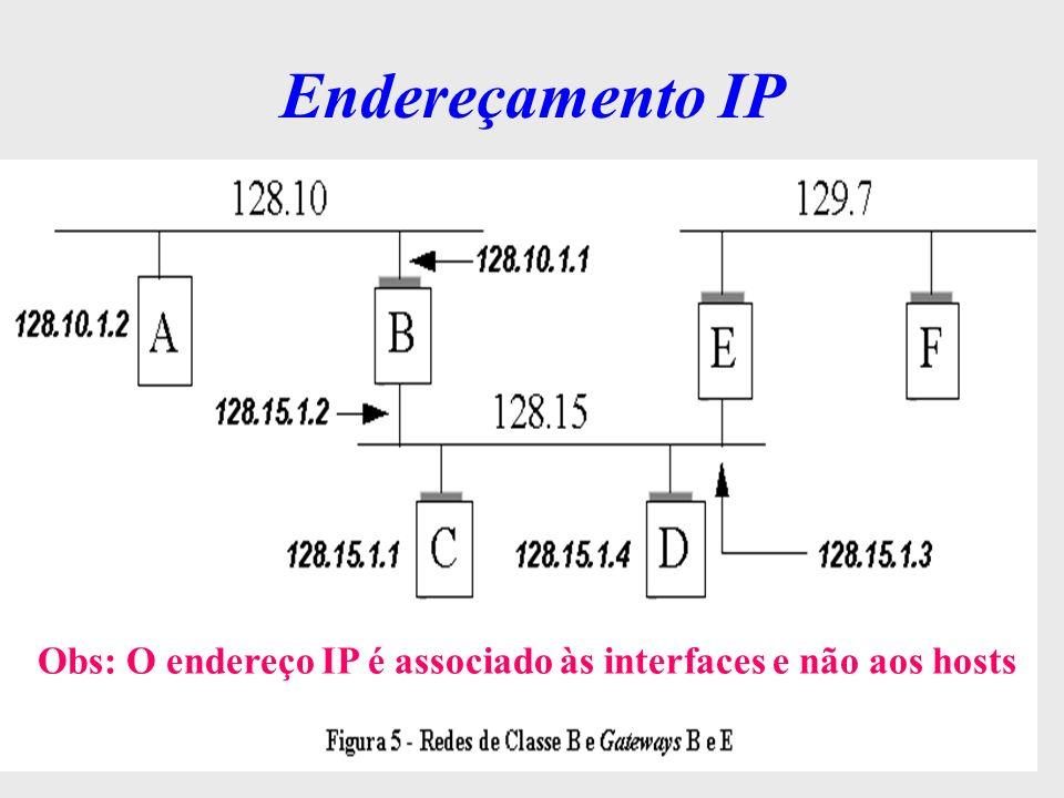 Endereçamento IP Obs: O endereço IP é associado às interfaces e não aos hosts