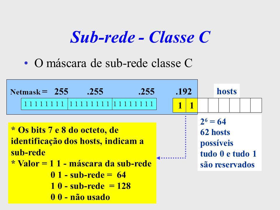 Sub-rede - Classe C O máscara de sub-rede classe C hosts 1 1