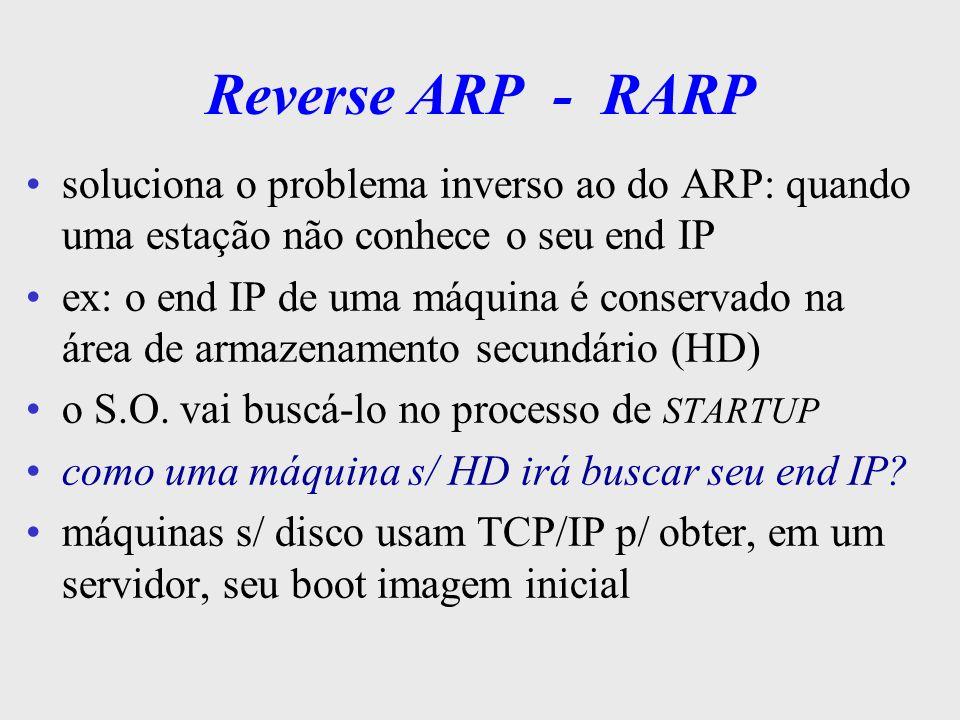 Reverse ARP - RARPsoluciona o problema inverso ao do ARP: quando uma estação não conhece o seu end IP.